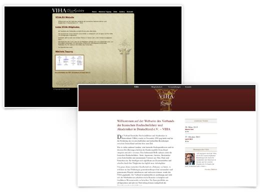Die bisherige (links) und neue VIHA-Website im Vergleich